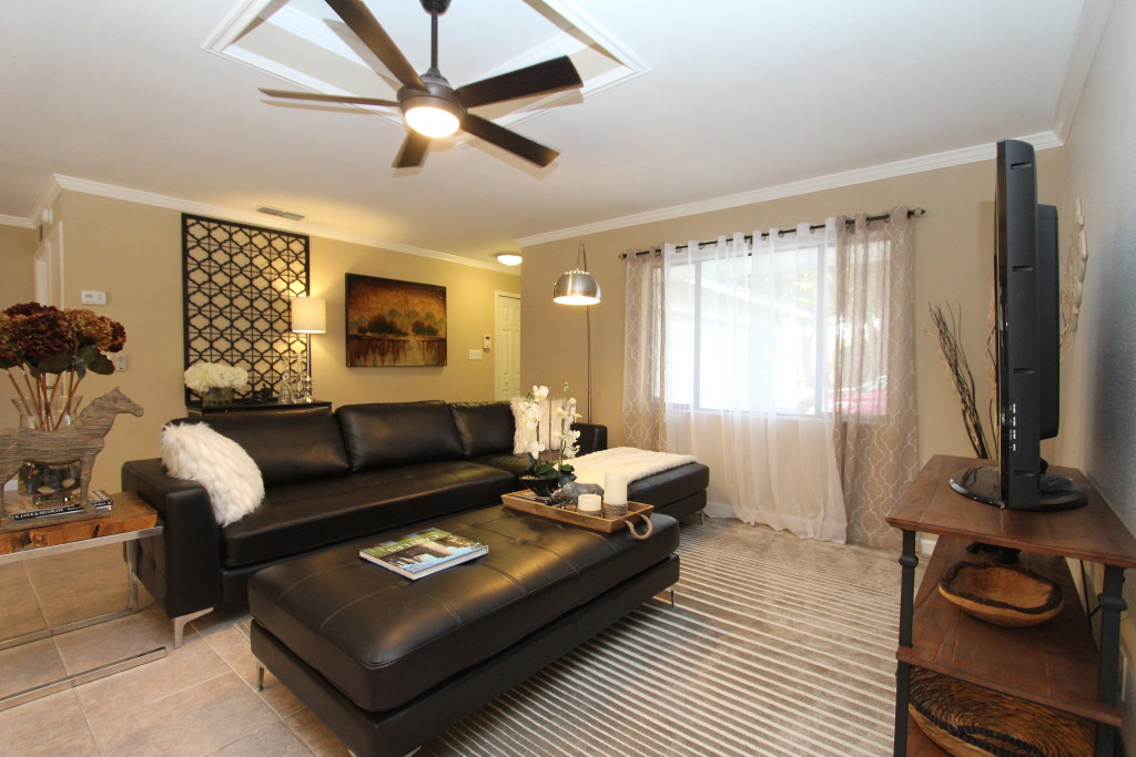 Ready for the new owners, this comfy sectional provides ample seating for everyone