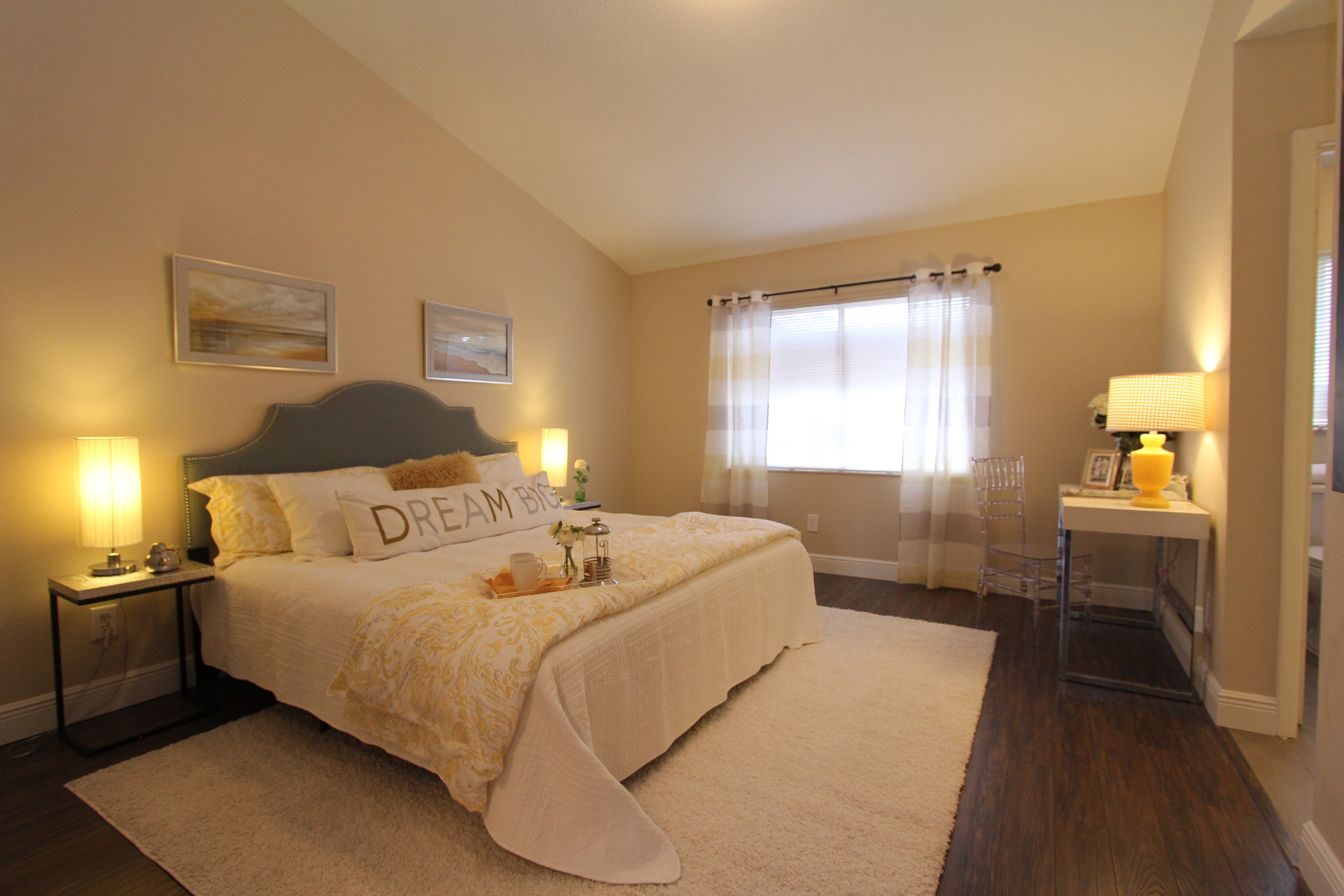 Master bedroom soft fabrics and calming neutrals prevail