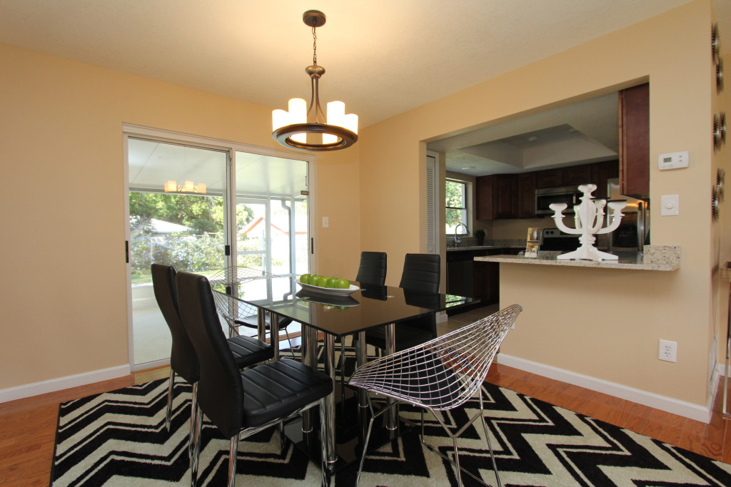 How many are coming for dinner? This dining room shows its size